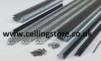 10m2 Complete Black Suspended Ceiling  Grid System x 24mm Wide ( Tiles Not Included).